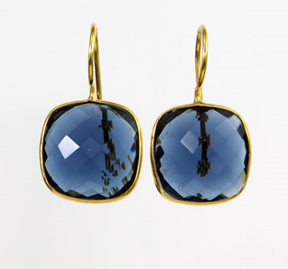Denim Quartz Cushion Cut Earrings